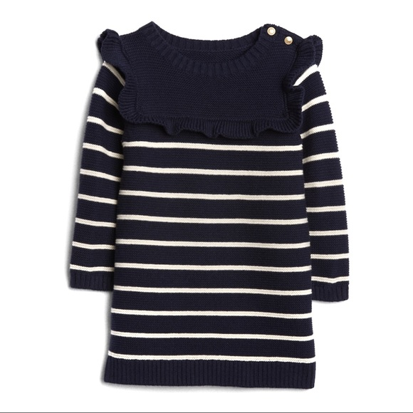 29020653fa59 Gap Striped Ruffle Sweater Dress